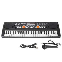 Kids Keyboard Piano, 49 Key Music Piano Keyboard, Portable Electronic Keyboard with Microphone f ...