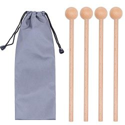 2 Pair Wood Mallets Percussion Sticks for Glockenspiel, Xylophone, Chime, Woodblock, and Bells,  ...