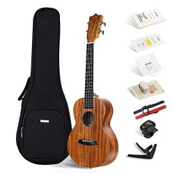 Official Enya EUT-70 Tenor ukulele KOA Wood Ukulele with Online Lessons,String, Tuner, Strap,Fin ...