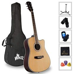 Acoustic Guitar Full Size 41-inch Spruce Cutaway Guitar Beginner Starter Students Kids Bundle wi ...