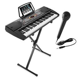 Hamzer 61-Key Electronic Keyboard Portable Digital Music Piano with X Stand, Microphone & St ...