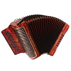 Hohner Corona Xtreme II 34-Button Accordion, GCF, Pearl Red