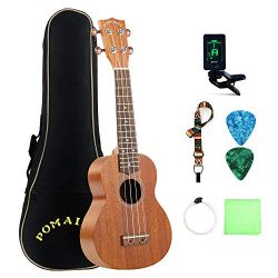 POMAIKAI Soprano Ukulele Mahogany Professional Uke Hawaii kids Guitar 21 Inch with Gig Bag for k ...
