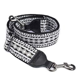 CLOUDMUSIC Banjo Strap Jacquard Woven With Leather Ends And Metal Clips (Black and White)