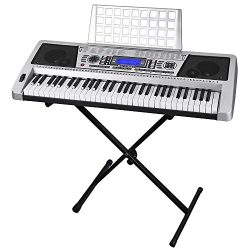 61 Key LCD Display Electronic Keyboard 37″ w/Black Adjustable X-Stand Piano Music Electric ...