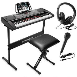 Hamzer 61-Key Electronic Keyboard Portable Digital Music Piano with Lighted Keys, H Stand, Stool ...
