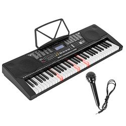 LAGRIMA 61 Key Electric Keyboard Piano w/Light Up Keys for Beginner, Lighted Portable Keyboard w ...