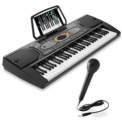 Hamzer 61-Key Electronic Keyboard Portable Digital Music Piano with Microphone, USB, Sticker Set