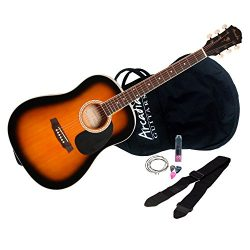 Arcadia DL38TS 3/4 Size 38″ Dreadnaught Acoustic Guitar Pack, Spruce with Tobacco Sunburst ...