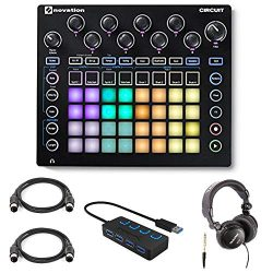 Novation Circuit Groove Box Drum Machine with Headphones, 4-Port 3.0 USB HUB and 2 Midi Cables