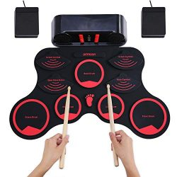 ammoon Electronic Roll-up Drum Set Digital MIDI Drum Kit 9 Silicon Durm Pads Built-in Stereo Spe ...