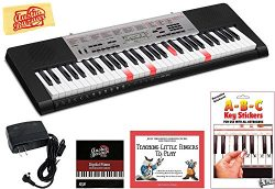 Casio LK-190 Lighted Keys Keyboard Bundle with Power Supply, Removeable Stickers, Instructional  ...