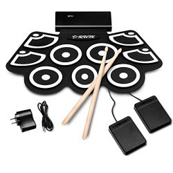 BABY JOY Electronic Roll Up Drum Kit w/ 9 Electric Drum Pads, 3.7V Lithium Battery, Bluetooth, R ...