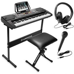 Hamzer 61-Key Electronic Keyboard Portable Digital Music Piano with H Stand, Stool, Headphones M ...