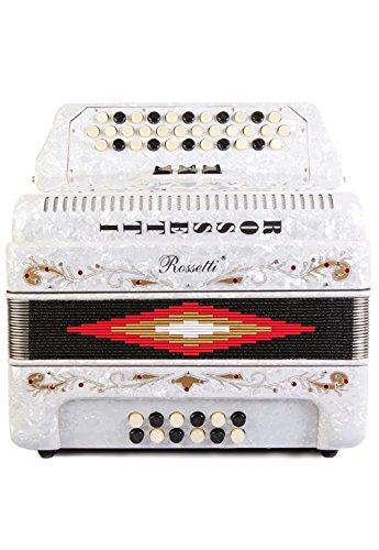 Rossetti 34 Button Accordion 12 Bass 3 Switches GCF White