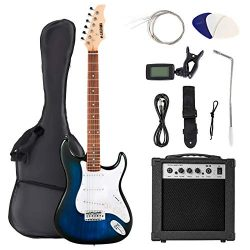 LAGRIMA 39 Inch Full Size Electric Guitar Starter Kit with 20W Amp, Case and Accessories Pack Be ...