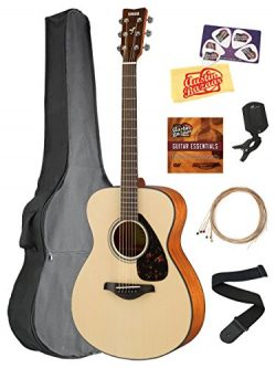 Yamaha FS800 Solid Top Small Body Acoustic Guitar – Natural Bundle with Gig Bag, Tuner, St ...