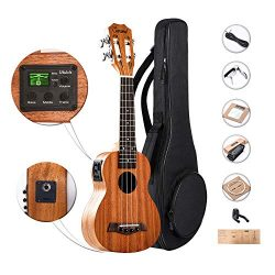 Solid Mahogany Top & Back – Caramel CS419 Soprano Acoustic Electric Ukulele with Aquil ...