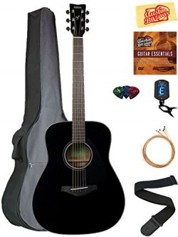 Yamaha FG800 Solid Top Folk Acoustic Guitar – Black Bundle with Gig Bag, Tuner, Strings, S ...