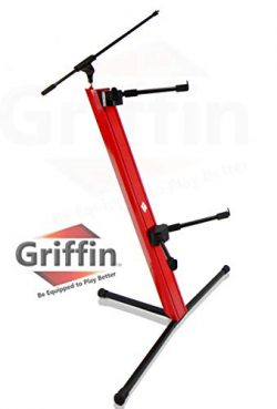 2-Tier Column Keyboard Stand with Mic Boom Arm by Griffin   Double Sliding Mounting Arms   Delux ...