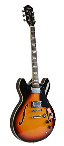 Full Size Hollow body Electric Guitar with Cable and Picks (Sunburst)