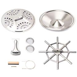 Hengory Silver Wood Dobro Guitar Parts Set Resonator Cones Soundhole Screens Tailpiece Spider Br ...