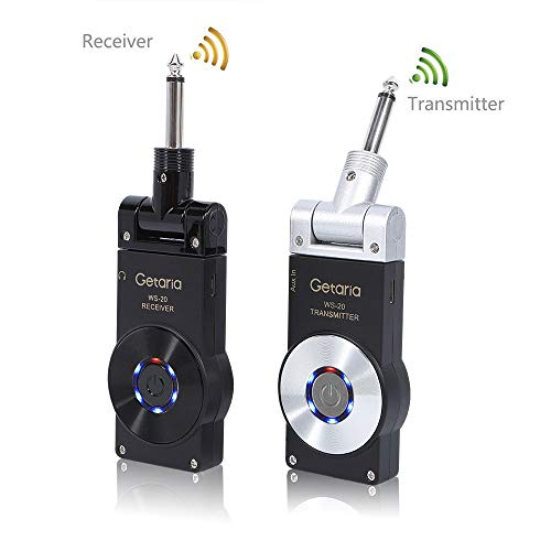 Getaria 2.4GHZ Wireless Guitar System Transmitter Receiver for Electric Guitar Bass Violin with  ...