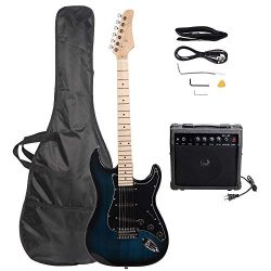 ISIN Full Size Electric Guitar for Beginner with Amp and Accessories Pack Guitar Bag (Dark blue)