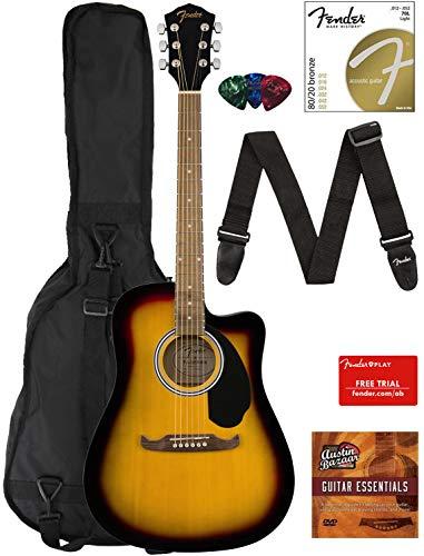 Fender FA-125CE Dreadnought Cutaway Acoustic-Electric Guitar – Sunburst Bundle with Gig Ba ...