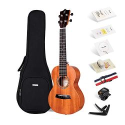 Enya Concert Ukulele 23 Inch Mahogany Beginner Ukulele – With Starter Kit includes Online  ...