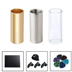 Guitar Slide, Set of 1 Glass Slide, 1 Steel Slide and 1 Brass Guitar Slide, Bonus 6 Pcs Guitar P ...