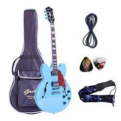 2019 New Product GROTE BRAND Electric Guitar Semi Hollow Body with Guitar Gig Bag (Miami Blue)