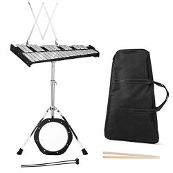 Giantex Percussion Glockenspiel Bell Kit 30 Notes, with Electroplated Adjustable Height Frame, M ...