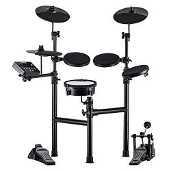 HXW Drums Electronic Drum Kit SD61-2 Electric Drum Set, Dual-zone Mesh Snare and Cymbal Pad with ...