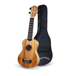 POMAIKAI Soprano Ukulele Beginner 21 inch Mahogany Ukalalee Small Hawaiian Guitar Ukeleles for K ...