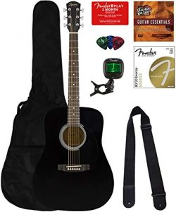 Fender Squier Dreadnought Acoustic Guitar – Black Bundle with Fender Play Online Lessons,  ...