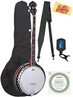 Oscar Schmidt OB5-O-U 5-String Banjo – Mahogany Bundle with Gig Bag, Strings, Tuner, Strap ...
