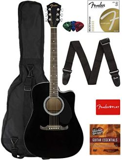 Fender FA-125CE Dreadnought Cutaway Acoustic-Electric Guitar – Black Bundle with Gig Bag,  ...
