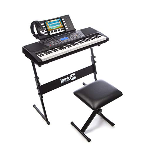 RockJam 61-Key Electronic Keyboard Piano SuperKit with Stand, Stool, Headphones & Power Supp ...