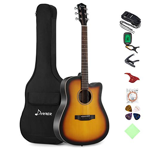 Donner Cutaway Sunburst Acoustic Guitar Package DAG-1S Beginner Guitar Kit With Bag Tuner Strap  ...