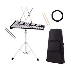 Giantex Percussion Glockenspiel Xylophone Bell Kit 30 Notes w/Practice Pad, Adjustable Height St ...