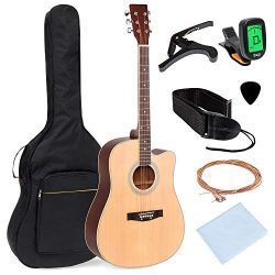 Best Choice Products 41in Full Size Beginner Acoustic Cutaway Guitar Kit with Padded Case, Strap ...