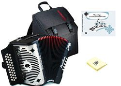 Hohner Panther 3100FB Diatonic Accordion Comprehensive Starter Kit with Gig Bag, Instruction Boo ...