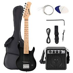 LAGRIMA30 Inch Electric Guitar Starter Kit with 5W Amp, Case and Accessories Pack Beginner Star ...