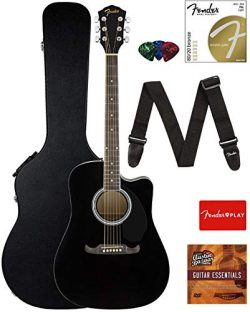 Fender FA-125CE Dreadnought Cutaway Acoustic-Electric Guitar – Black Bundle with Hard Case ...