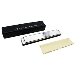 Andoer Tremolo Harmonica Mouth Organ Key of G 24 Double Holes with 48 Reeds Free Reed Wind Instr ...