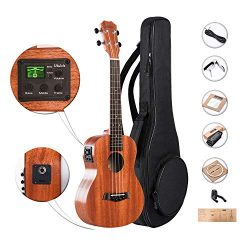 26 inch Caramel CT402 All Solid Mahogany Tenor Ukulele with Truss Rod Electric Uke Beginner Guit ...