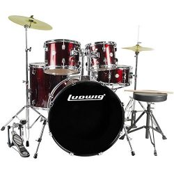 Ludwig Accent Drive 5-Pc Drum Set, Red Foil – Includes: Hardware, Throne, Pedal, Cymbals,  ...