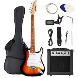 LAGRIMA 39 Inch Full Size Electric Guitar Starter Kit with Digital Tuner, Strings, Picks, Tremol ...