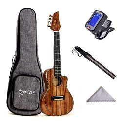 Deviser Concert Ukulele 23inch Cutaway Thin Body Travel Ukelele kit Solid KOA Top KOA Back & ...